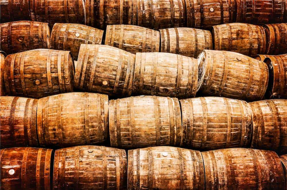 stacks of whisky barrels