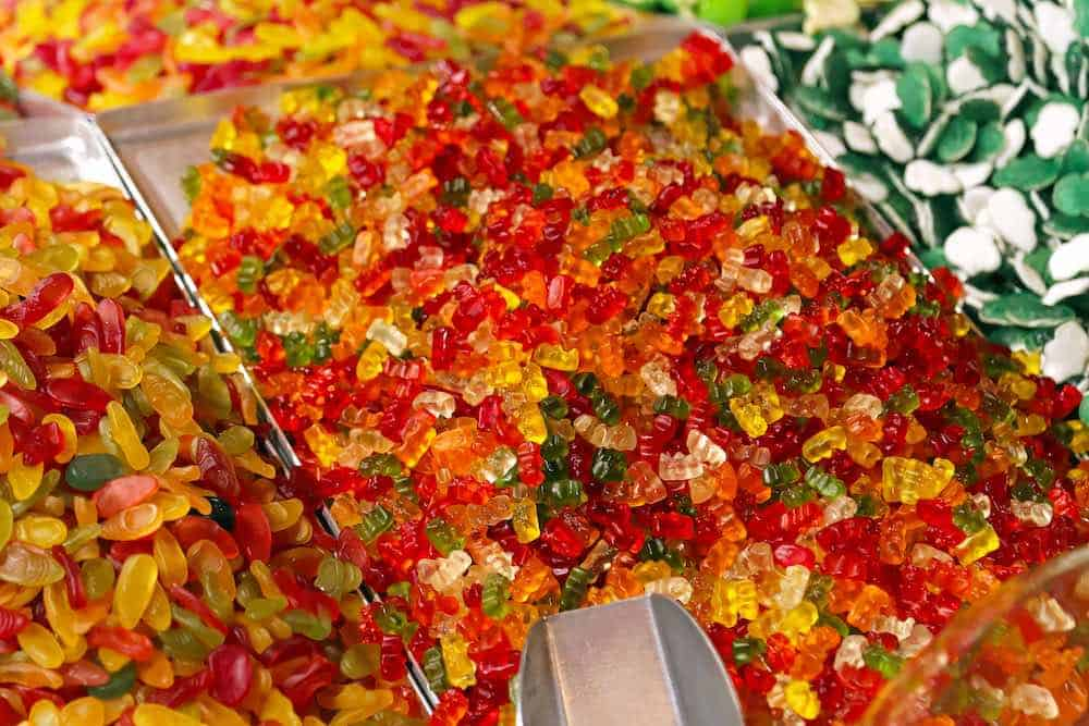 gummy bears at a pick 'n' mix with a scoop