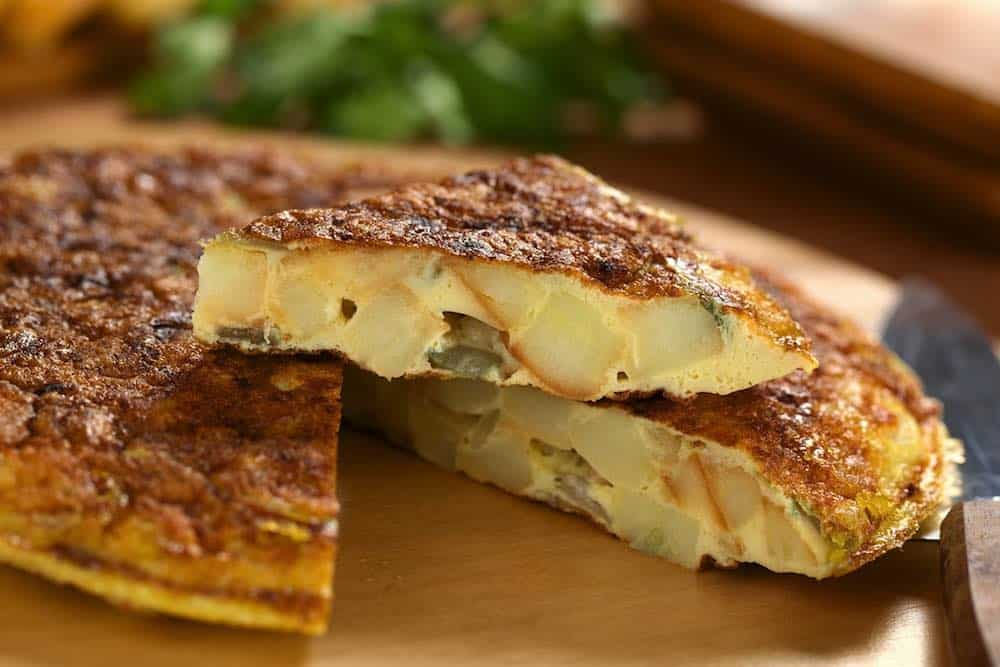 Spanish tortilla sliced and presented