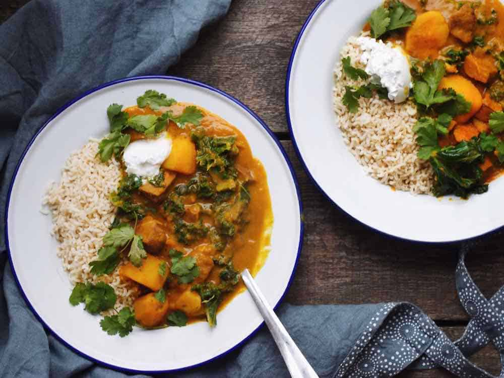 pumpkin coconut garlic curry