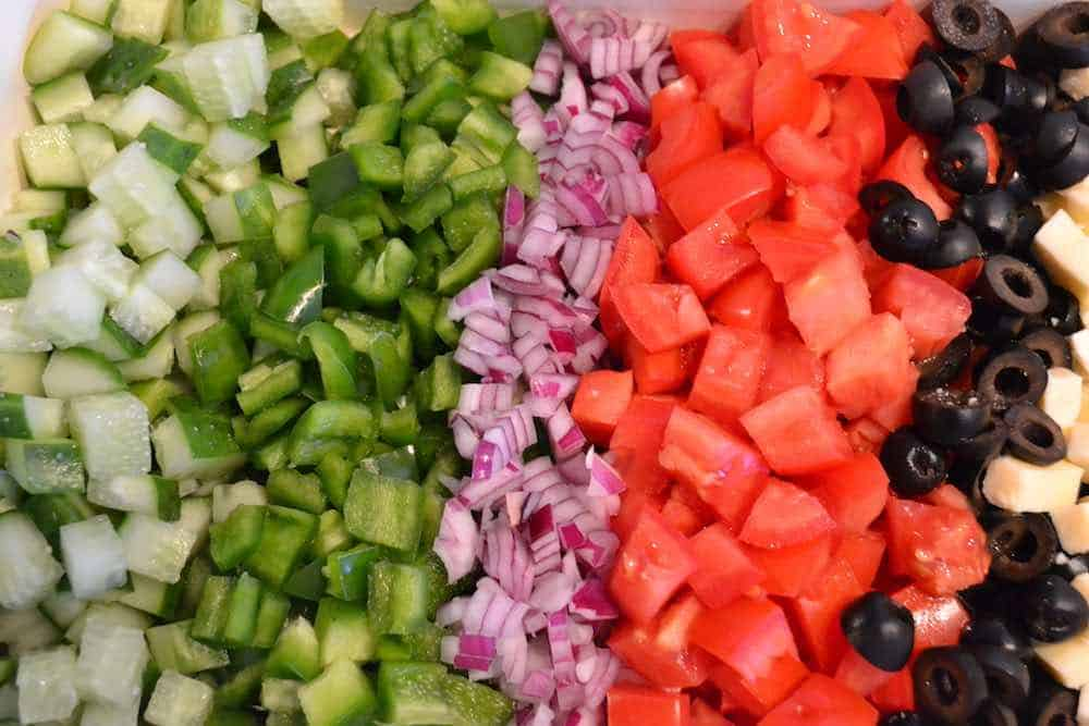 chopped veggies from the best small vegetable chopper