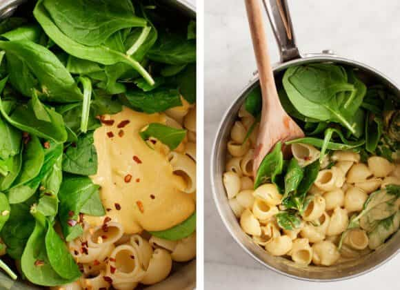 vegan mac and cheese with spinach
