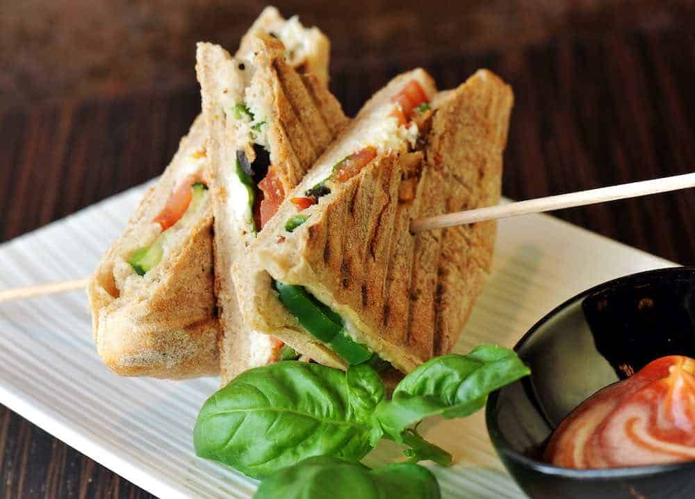 plate of veggie grilled sandwiches