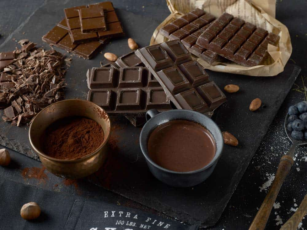 dark chocolate in various forms