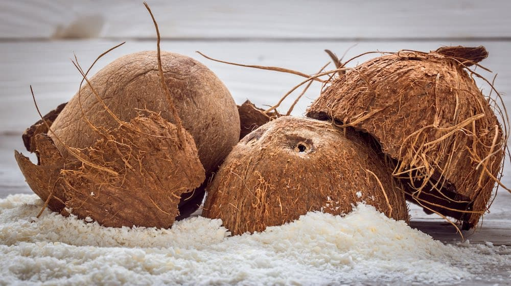 coconuts sitting in their own flour