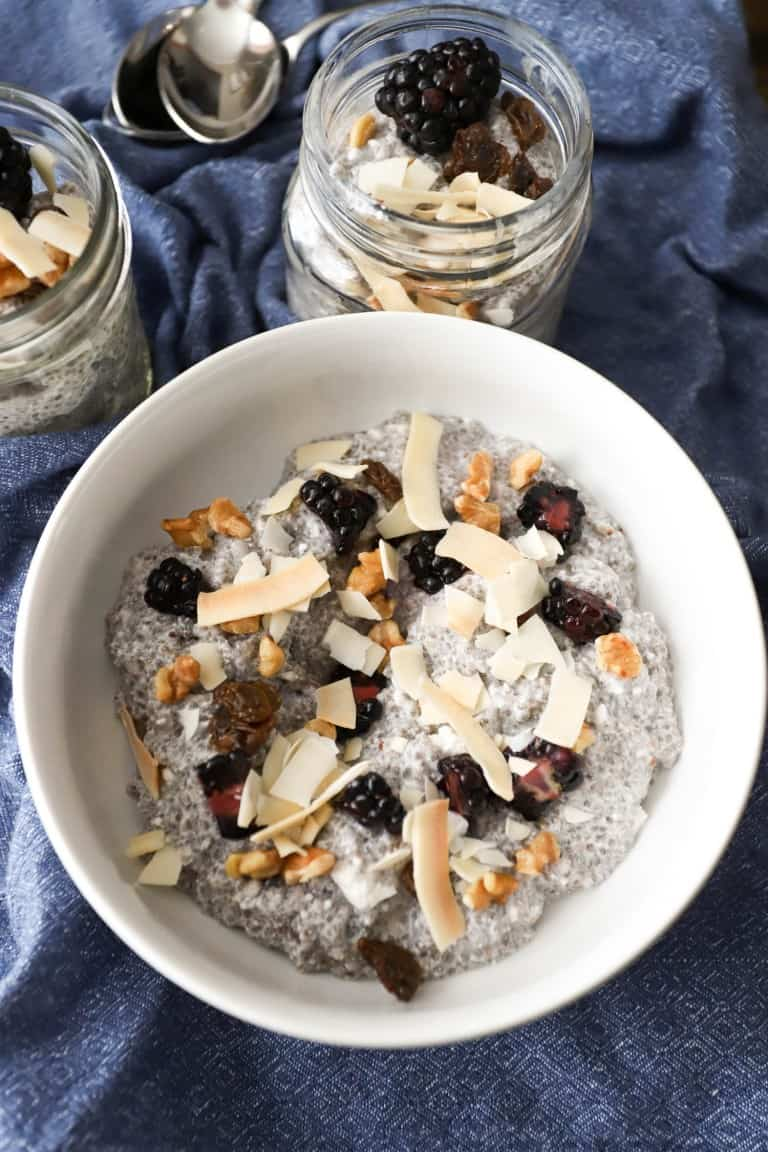 COCONUT VANILLA CHIA PUDDING in a white bowl