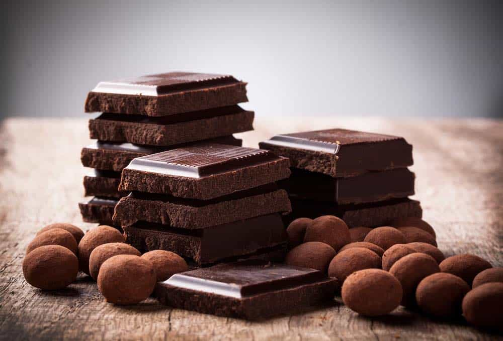 dark chocolate squares and truffles