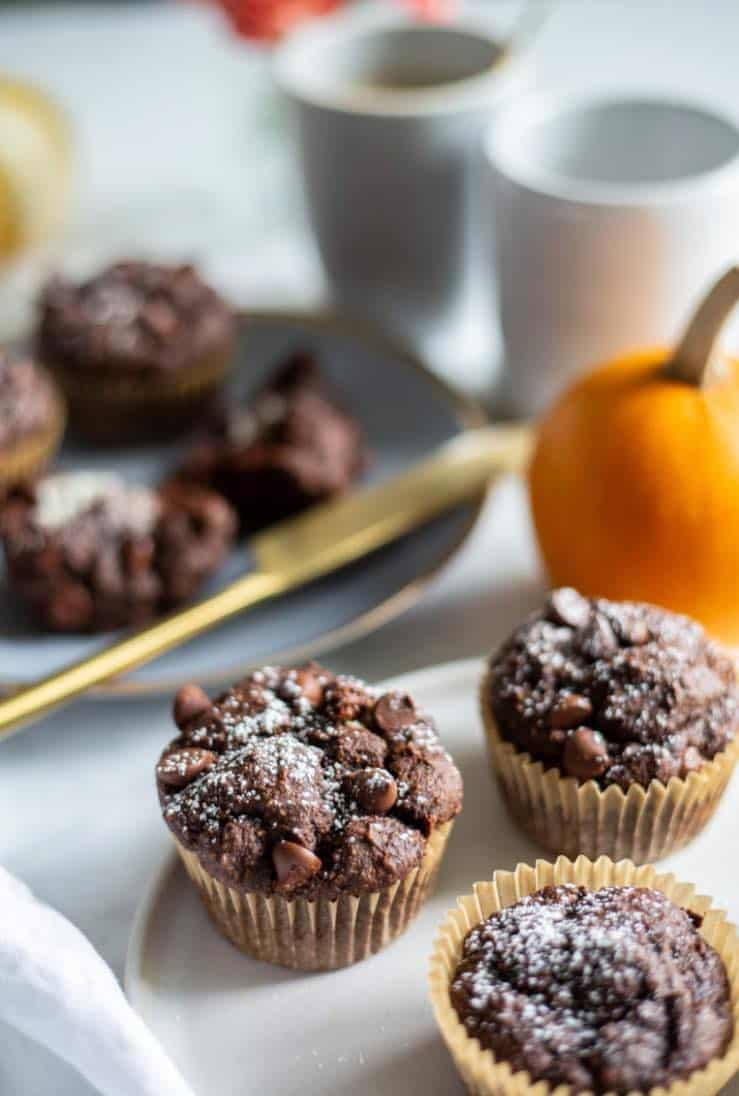 chocolate and pumpkin muffins