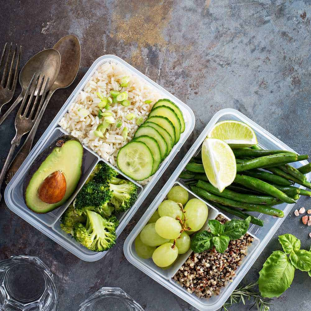 best meal prep containers filled with delicious vegan food