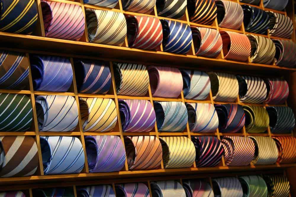 rack of vegan ties