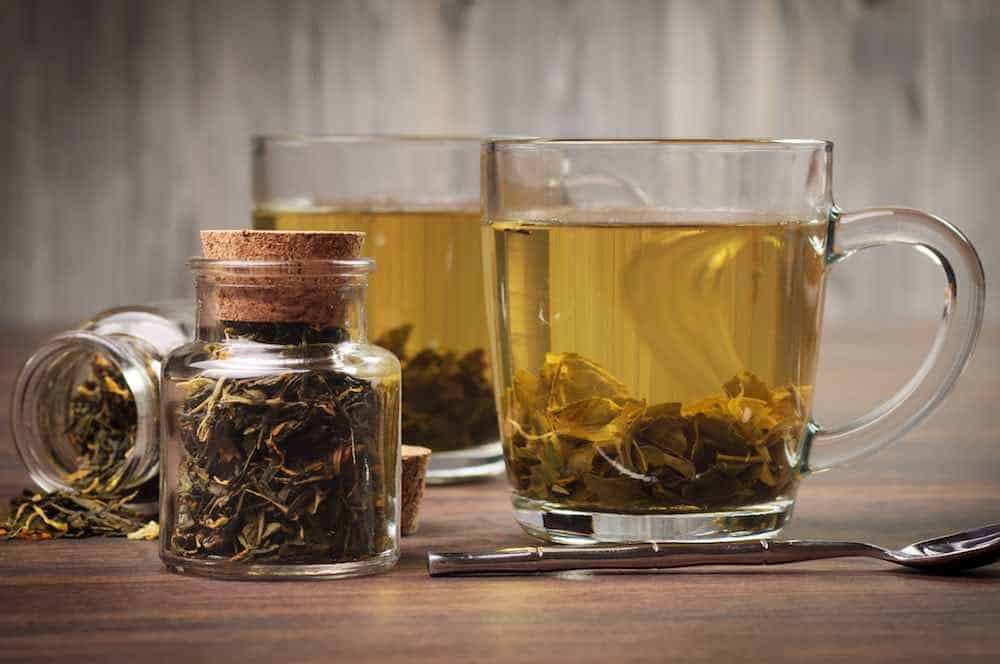 two glass mugs of green tea for weight loss