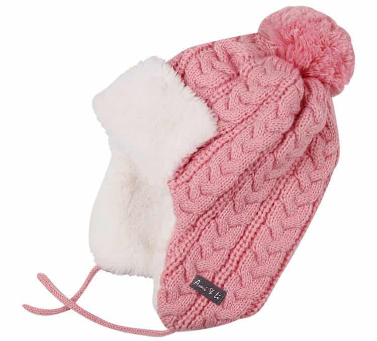 our favorite baby hat for cold months is Ami&Li Infant Knit Winter Trapper Hat