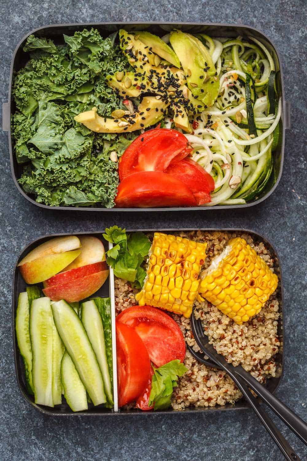 vegan food in the best food prep storage containers