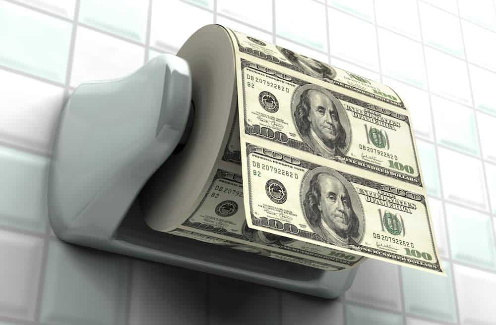 dollar bill toilet roll