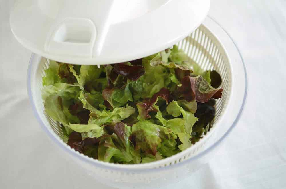 white lettuce spinner dryer with leaves inside