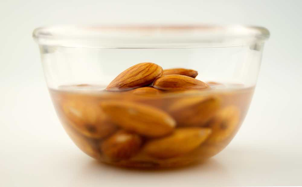 bowl of almonds in water