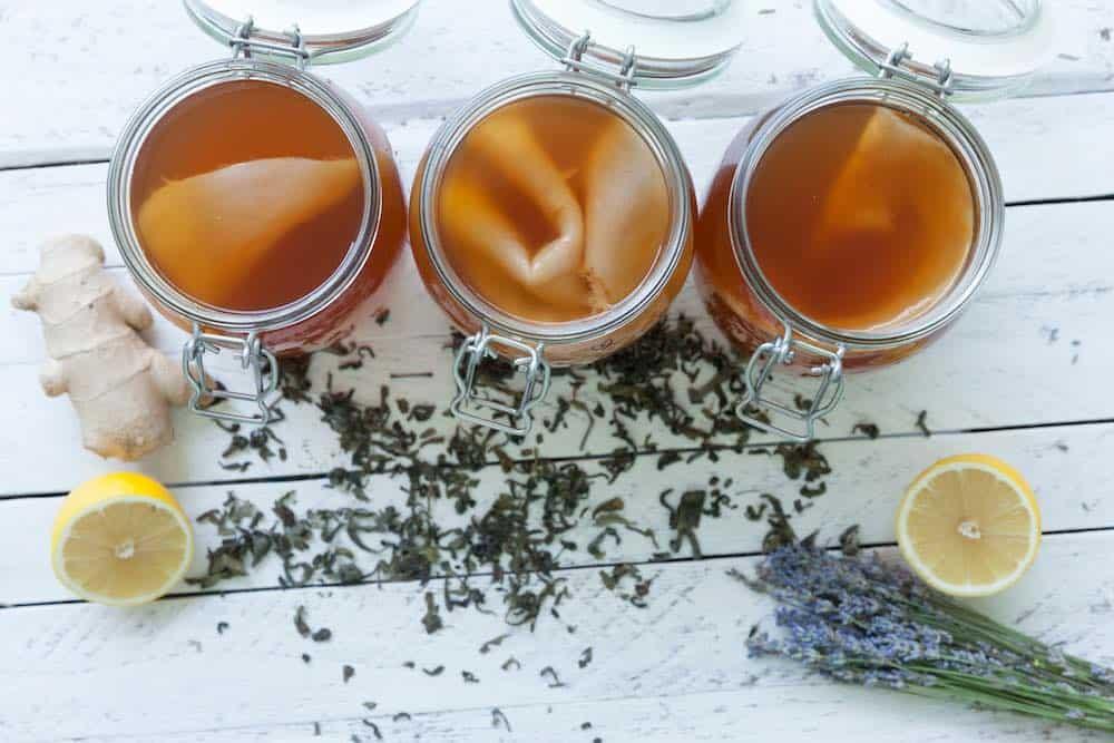 three kombucha jars with scoby