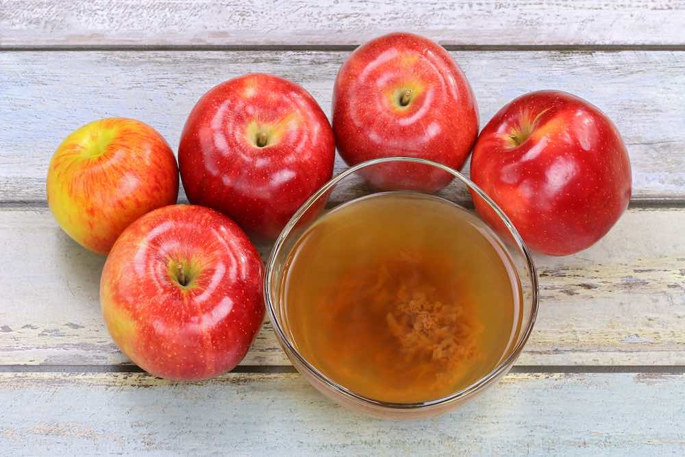 apple cider vinegar with the fruit