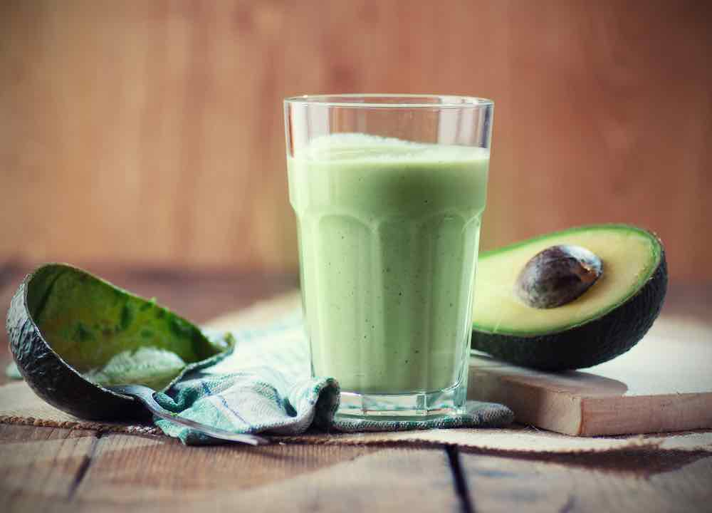 glass of avocado smoothie