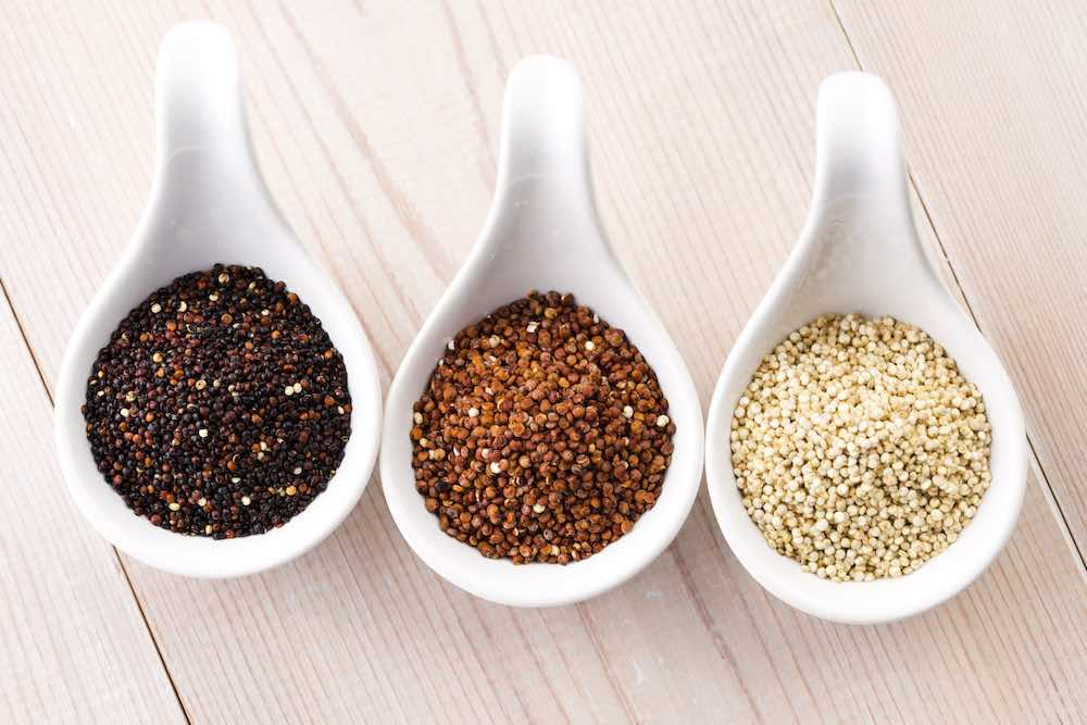 three different types of quinoa