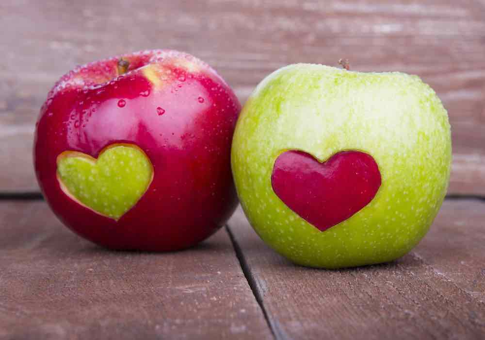 hearts cut into apples