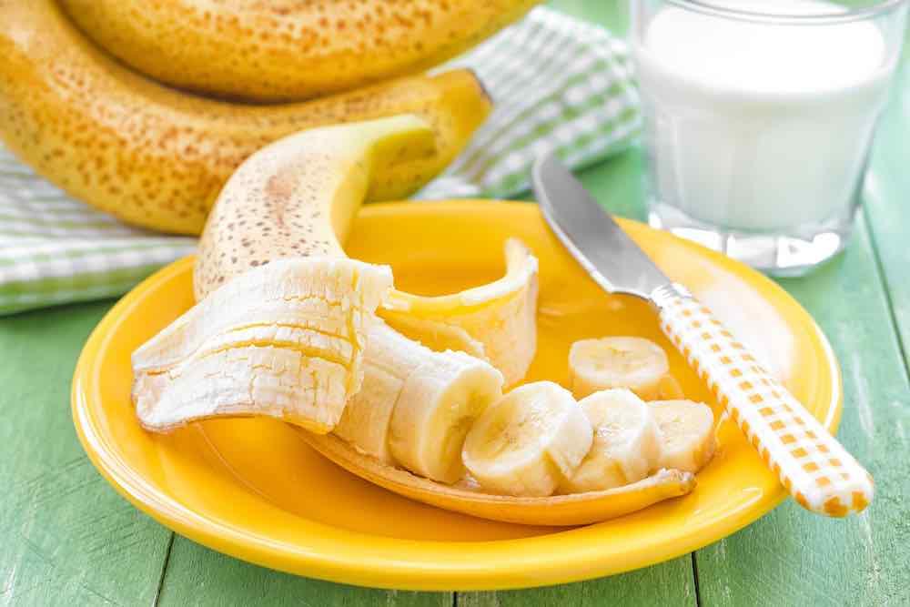 chopped banana on a plate