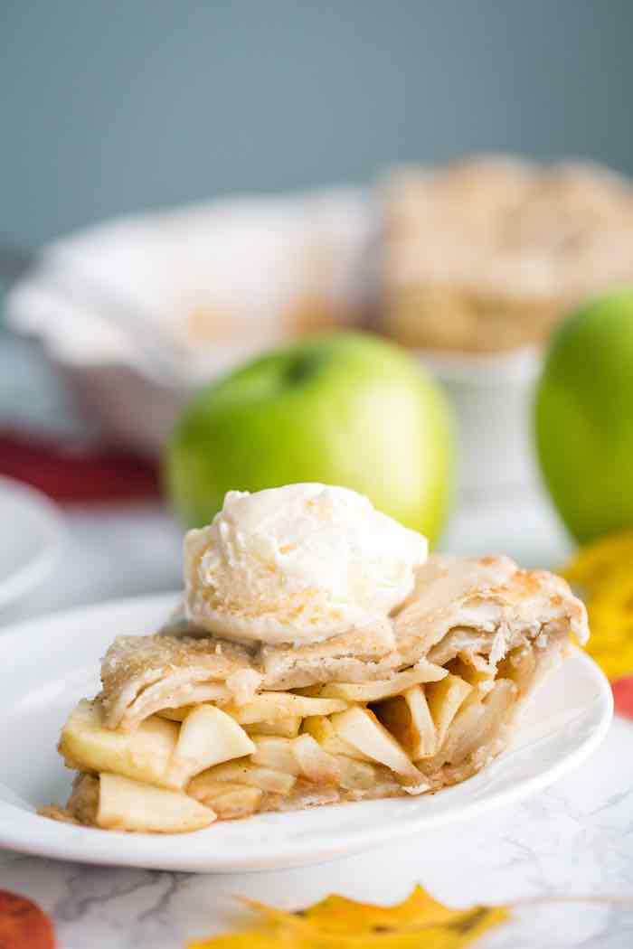 vegan apple pie with dairy-free ice cream